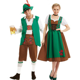 Wholesale Couple Outfit Clothing - Women Man Bavarian Oktoberfest Costume German Beer Costumes Halloween Party Couple Festival Beer Clothes Cosplay Outfit