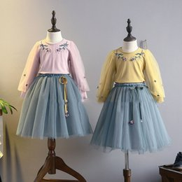 Wholesale Kids Blouse Embroidery - Everweekend Kids Girls 2pcs Embroidery Flowers Tops Blouse Tee and Tutu Mesh Tulle Skirt 2pcs Outfits Sets