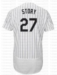 Venta al por mayor online-27 Trevor Story Baseball Jerseys Bordados Logos 100% cosido fresco base jersey venta al por mayor barato