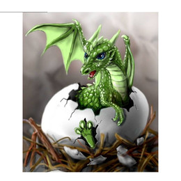 Wholesale Painted Dogs - Green Dragon Egg New Cross Stitch 5D DIY Dog Square Picture Full Diamond Painting Needlework Embroidery Round Rhinestone