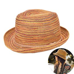 wholesale sombrero hats UK - Women Summer Sombreros Hat for girls Colorful  Straw Sun Hats Jazz dd15e9c7adcc