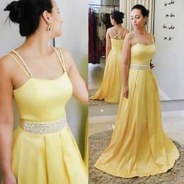 Amarillo vestidos de graduación aline online-Elegantes vestidos amarillos de baile Aline Sexy correas espaguetis hasta el suelo con espalda cruzada Elegantes vestidos de noche formales vestidos de graduación para adolescentes