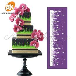 трафаретные формы Скидка New Grassland Mesh Stencil Lace Cake Stencil DIY Cake Decorating Tools Fabric Stencils for Mold Fondant Molds MST-08