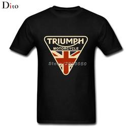 Wholesale Union Jack Blue - New Vintage Union Jack Triumph Motorcycle T Shirt Brand T-shirts Cotton Crewneck Big Size Short Sleeve Funny T Shirts