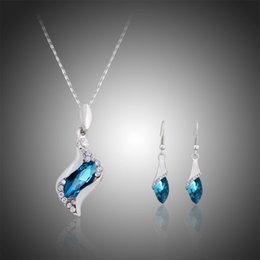 2019 joyas de swarovski Conjunto de joyas de dama de honor pendientes de boda colgantes de collar Swarovski plata cristalina australiana de joyería africana joyería del partido conjuntos joyas de swarovski baratos