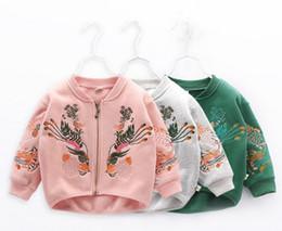 Wholesale Kids Baseball Jackets Girls - Kids embroidered jacket 2018 Spring New Girls peacock embroidery coat children zipper casual outwear Kids Baseball uniform A00185