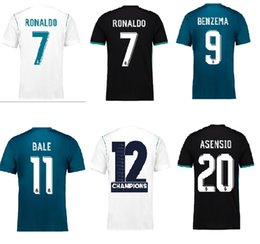 Wholesale White Fans - 2018 Champions League fans Version Soccer Jersey 2017 18 Real Madrid Home Away 3rd 17 18 Ronaldo ASENSIO football Jerseys FIBO