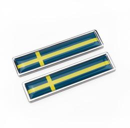 2019 badge audi noir Autocollant De Style De La Suède Drapeau De La Nouvelle Paire Étiquette En Métal 3D Autocollants De Voiture Auto Emblème En Métal Drapeau Suédois