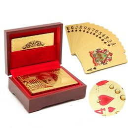 Wholesale Graded Sports Cards - 24K Gold Foil Plated Poker Card Playing Card Game High-grade Sports Leisure Game Gift Box With Certificate Card