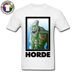 T-shirt bianche strette online-Warmonster HORDE Gaming Tshirt Fitness Tight manica corta in cotone 100% T-shirt da uomo Nuovo design Bianco Anime Tee Shirts