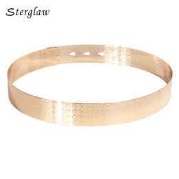 Wholesale Wide Gold Metallic Belt - Women Punk Full Metal Mirror skinny Waist Belt female 2018 Metallic Gold Plate Wide belt for women dresses Modeling J046