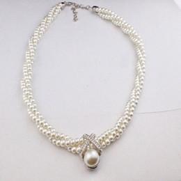 collares de perlas de tres capas Rebajas Twist Pearl Gargantilla Necklace Twist Drill Necklace Tres Capas Beads Chain Estilo Coreano Moda Collar de Perlas DHL