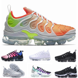 Wholesale 12 deep - 2018 Vapormax TN Plus Olive Mens Sports Running Shoes Sneakers Metallic White Silver Colorful For Male Shoe Pack Triple Black US7-12