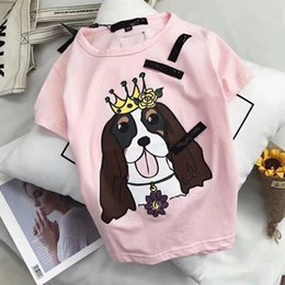 Wholesale Luxury Baby Girl - 2018 luxury italy baby girls and boys cartoon tees short sleeve t shirt