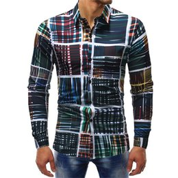 809f1b7f798 2018 Mens Fashion Long Sleeve Slim Fit Printed Casual Shirts Single  Breasted Plaid Striped Dress Shirts Urban Clothing Big Size