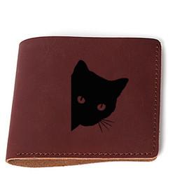 2019 verrückte taschen Unisex Mini Brieftasche Pocket Kartenhalter Tasche Crazy Horse Leder kleine Geldbörse Haspe Vintage Brieftasche Gravierte Bild Katze Brieftaschen günstig verrückte taschen