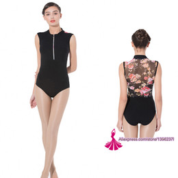 Wholesale costume design dance - Gymnastics Leotard Adult 2018 New Design Zipper Net Dance Costume High Quality Black Ballet Dancing Wear Gymnastics Leotard