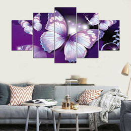 2019 arte de parede roxa para quarto HD Impresso Imagem Modular Grande Pintura Da Lona Para O Quarto Sala de estar Home Wall Art Decor 5 Painel de Borboletas Roxas arte de parede roxa para quarto barato