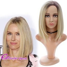 Wholesale Long Bob Wigs Bangs - Blonde Ombre Long Bob Wig Side Bangs Synthetic Long Ombre Brown Roots to Blonde Bob Wigs for Women 14 Inch