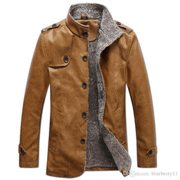 Wholesale Leather Jackets Wool Lining - Men's Winter Fur lining Thickening And Wool Windbreak Waterproof warm Leather Jackets big size leather Coat free shipping