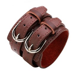 Wholesale studs spikes bracelet - whole saleKorean Style Fashion Double Row Cuspidal Spikes Rivet Stud Wide Cuff Leather Punk Bangle Bracelet Women&Men'sParty Jewelry