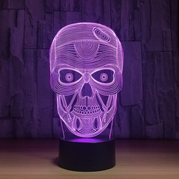 Wholesale Water Night Lights - 2018 SKull 3D Optical Illusion Lamp Night Light DC 5V USB Charging AA Battery Wholesale Dropshipping Free Shipping
