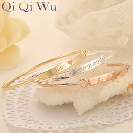 Wholesale Names Bar - Drop Shipping Gold Bangle Bar Bracelets Custom Engraved Name Bracelet Personalized Initials Bangles for Women Jewelry Girls Gift