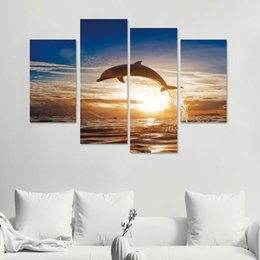 Wholesale Tv Wall Design Wallpaper - Hot Dolphin Wall Stickers DIY Art Decal Removable Wallpaper Mural Sticker for TV Background Room Home Décor