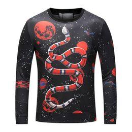Wholesale Thick Winter Shirts Men - Luxury Brand Hoodies Winter Long Sleeve Shirts Coats Sweatshirts Cotton Mens Jackets Rund Collar Snake Printed Sportwear Pullover Sweater