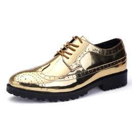 Canada Chaussures pour hommes de marque 2018 or et argent cool oxfords hommes robe de bal italienne chaussures nouvelles chaussures en cuir verni supplier italian silver shoes Offre