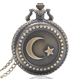 Wholesale Necklace Full Moon - Hot Retro Vintage Pocket Watch Turkey Star and Moon Flag Full Hunter Quartz Movement with Necklace Chain for Women Men reloj de bolsillo