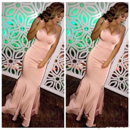 Argentina 2019 Blush Pink Mermaid vestidos de baile largos correas espaguetis piso-longitud mujeres simples baratos del partido de la tarde desgaste del desfile del vestido cheap blush mermaid pageant dress Suministro