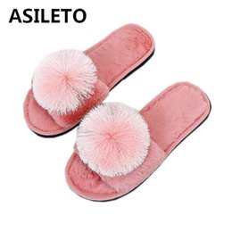 0a2aab754c77 ASILETO Cute Ball Winter Shoes Woman Home Slippers Women Indoor Bedroom  House Soft Bottom Cotton Warm slides flip flops T497