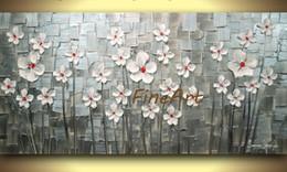 Flor faca pinturas a óleo on-line-Pintados à mão faca pintura a óleo da natureza da flor pintura a óleo pintura abstrata da lona conjuntos de óleo pinturas contemporâneas pinturas a óleo textura