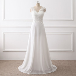 Wholesale Wedding Gowns Pregnant Bride - Beach Lace White Wedding Dresses Chiffon Pregnant Brides Dresses Cheap Sweep Train Wedding Gowns 2018 Vestido de Noiva