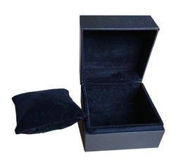Caso del oem de encargo online-4 unids / lote Cajas de Reloj de Joyería Al Por Mayor Negro PlasticLint Cajas de Regalo Oem May Custom Logo Caja de Promoción Caja de Embalaje de China