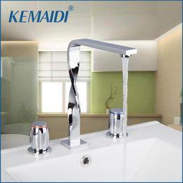 Wholesale Deck Mounted Shower Mixer Taps - KEMAIDIBathtub Shower Faucet Construction & Real Estate 3PCS Set Deck Mounted Chrome Basin Mixer Bathroom Tap