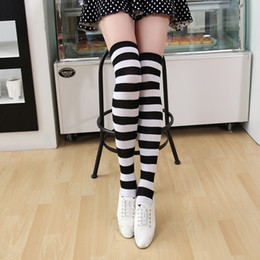 ca165c6f6 Discount yellow striped tube socks - Women Long Knee Socks Striped Cotton  Thigh High Lady s Over