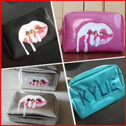 Wholesale Cosmetic Lips - in stock Kylie Jenner bags Cosmetics Birthday Bundle Bronze Kyliner Copper Creme Shadow Lip Kit Make up Storage Bag pink silver black green