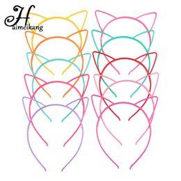 Banda di rosa di plastica online-Haimeikang Solid Candy Colore Colore Plastica Cat Ear Tiara Principessa Fascia per capelli Fascia con denti ragazze bambini Accessori per capelli