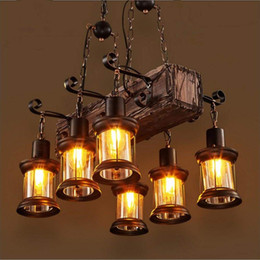 modern wooden lamps Coupons - 6 Heads Industrial Loft Style Countryside Vintage Wooden Chandelier Lamp Pedant Lights For The Foyer Coffee Room Bar Decorate Pendant Lamp