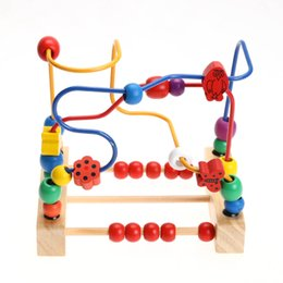 Wholesale Wooden Toys Bead Maze - educational for children Wooden Labyrinth Wooden Bead Maze Puzzle for Children Educational Toys Child Bead Rollercoaster Birthday Gift