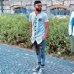 Tyga kleidung online-Sommer mode Mens Tees Mode Streetwear Hip Hop sik seiden baseball jersey gestreiftes hemd Männer Kleidung tyga Marke Kleidung
