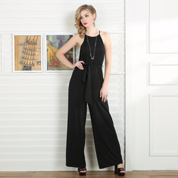 Wholesale Black Female Jumpsuit - Women's High Waist Wide Leg Long Pants Jumpsuit Female Casual loose Sleeveless Sashes Striped Rompers Womens Overalls Talever