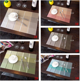Wholesale Disc Pads - Stripes Lattice PVC Insulated Placemats Colorful Quick Drying Cup Table Pads Environmental Non-Slip Mat Home Disc Bowl Tableware Pads
