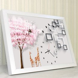 Wholesale Feng Shui Tree - New Pattern 5d Diamonds Picture Clocks And Watches Cherry Blossoms Tree Lovers Fawn Point Stick Drill Cross Embroidery Living Room Bedroom