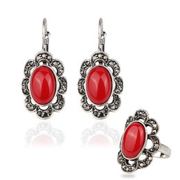 Wholesale White Gold Ruby Earrings - Ring&Earring Jewelry Sets in Stock - Ruby Sliver Plated 53~62cm Circumference Rings Alloy Gemstone Punk Resin Dangle Chandelier