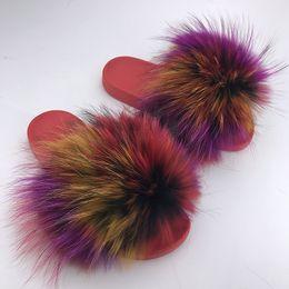 Chaussures de vison en Ligne-Shaggy pantoufles 2018 Luxe Femmes Mink cheveux Pantoufles Fluffy Real Designer Designer Flip Flops Dames Mignon Sandale Mode Furry Femme Hot Shoes