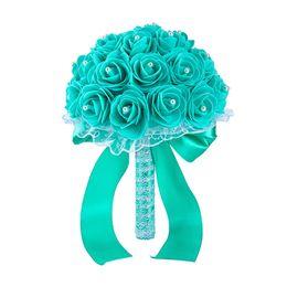 flores artificiais de qualidade Desconto 2019 Novo Design Barato Casamento Artificial Flores Bouquets de Casamento Favores de Alta Qualidade Decoração de Casamento Flores Dama de Honra CPA1592