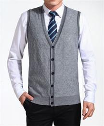 Wholesale Cardigan Sweater Vest Men - New Arrival Autumn Clothing Cashmere Sweater Men Cardigan Vests Wool Vest Knitted Mens Cardigans Sleeveless Plus Size XXXXL M-075